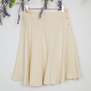 Calvin Klein Light Yellow Silk Flared Skirt
